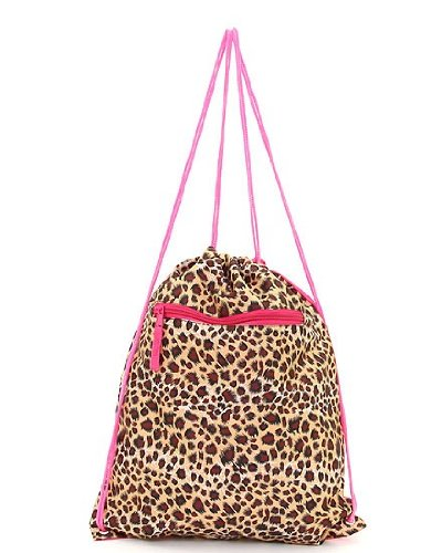 Leopard Drawstring Cinch Backpack Brown Tan Hot Pink