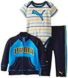 Puma - Kids Babys Infant Puma Logo Interlock Jacket Set, Radiant Blue, 3-6 Months