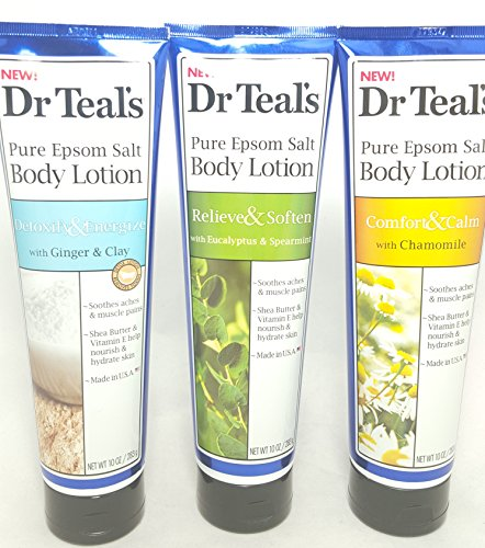 Dr. Teal's Pure Epsom Salt Body Lotion Combo Pack, Detoxify & Energize + Releive & Soften + Comfort & Calm, 10 OZ Per Tube (Epsom Salt Lotion compare prices)