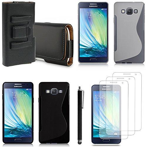 Vcomp® Samsung Galaxy A3SM-A300F/A3Duos (non compatibile Galaxy A3(2016)):-Cover Custodia astuccio accessori silicone gel film Pennino Pelle Clip Cintura-Nero