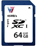 V7 VASDX64GUHS1R-2E Premium Class 10 SDXC 64GB Speicherkarte (UHS-I, 45Mbps Lesegeschwindigkeit)