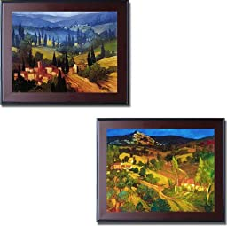 Tuscan Valley View & Provencal Landscape by Philip Craig 2-pc Mahogany-Framed Canvas Set (Ready-to-Hang)