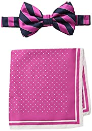 Steve Harvey Men\'s Satin Stripe Woven Bowtie and Dot Pocket Square, Hot Pink, One Size