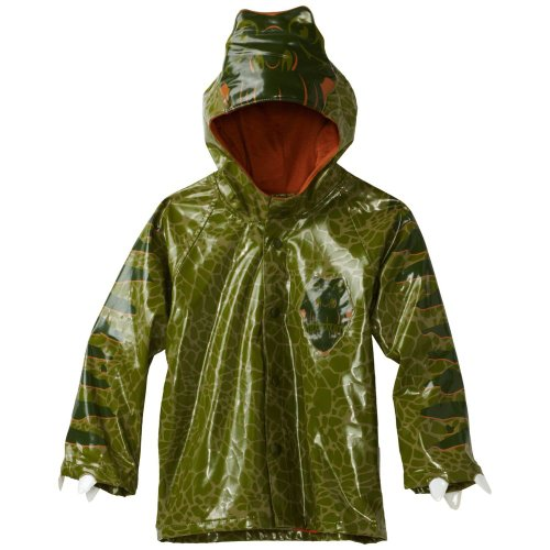 Western Chief Little Boys' Dino Raincoat, Green, 3T front-642657