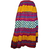 100% Cotton Ethnic Indian Designer Long Skirt Stretchable West 23-36 Inch Beautiful Skirt ... (Multi)