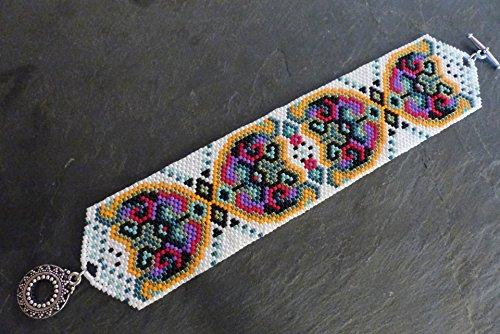 bracelet-manchette-tisse-multicolore-en-parles-japonaises