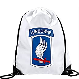 Large Drawstring Bag with US Army 173rd Airborne Brigade Combat - Sky Soldiers SS - Long lasting vibrant image