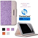 Thankscase Samsung Galaxy Note 8.0 Wallet Rotating Case Cover with Hand Strap with Smart Cover Function,Ultra Slim Lightweight Smart shell Standing Pocket Cover Case for Samsung Galaxy Note 8.0 N5100/N5110.(PURPLE)