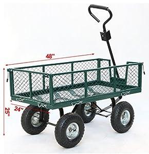 Yaheetech Heavy Duty Steel Crate Yard Garden Barn Wagon 800 lbs Green 48 x 24 x 25 Inches by Yaheetech