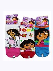 Assorted Dora the Explorer Socks (3 Piece Set) - Girls Low Cut Socks (Size 6-8) from Planet Sox