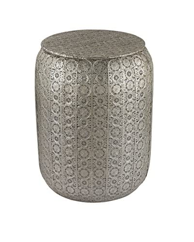 Artistic Pierced Metal Work Stool, Nickel