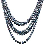 HinsonGayle Handcrafted 7-Strand Handpicked Ultra-Iridescent Multicolored Black Circlé Baroque Cultured Pearl Necklace (DIVA Collection) (Sterling Silver)