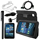 Skque Clear Anti Scratch Screen Protector Film Protection Skin + USB Transfer Sync Data Cable + 3.5mm Headset Earphone + Black Stylus Pen + Car Charger + Porfolio Leather Case Cover with Stand for Samsung Galaxy Tab 2 7.0 Inch P3100 P3110 Tablet