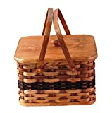 Amish Handmade Large Square Double Pie Carrier Basket w/Inside Tray, Lid, and Two Swinging Carrier Handles IN WINE