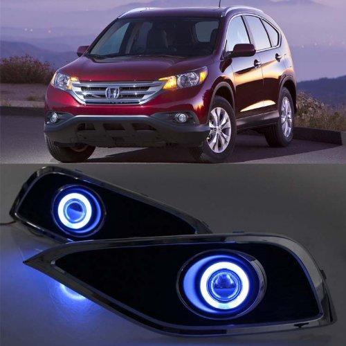Auptech Innovative Super Ccfl Technology Angel Eye Fog Light Drl Exact-Fit Fog Bumper Cover With Projector Lens For 2012 Honda Cr-V