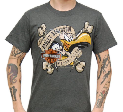 Harley-Davidson Mens Buzzard Bones Charcoal Short Sleeve T-Shirt (Large)