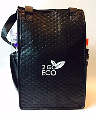 2goEco Black Eco-Friendly Tall Insulated Lunch Bag-Travel Cooler-Reusable Grocery Tote