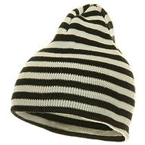 Trendy Striped Beanie - Black White W28S20E