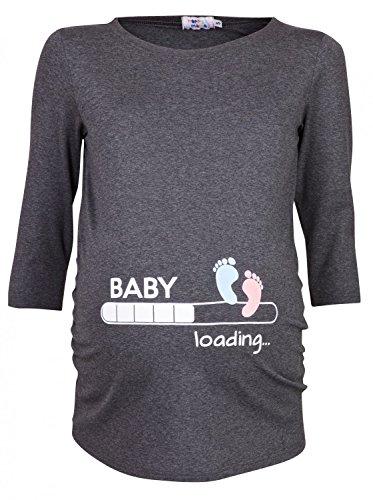Happy Mama Donna Magliette Premaman T-shirt Divertente Piedi Neonato stampa 549p (Grafite, IT 50/52)