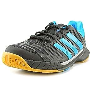 Adidas Adipower Stabil 10.1 Men's Indoor Court Shoe (7.5, Black/Tech Grey Metallic/Solar Blue)