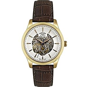 Rotary Watches Men's Skeleton Swiss Made Automatic Gold Tone Watch
