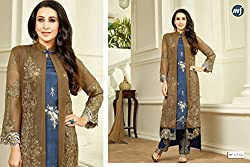 Binny Creation Women's Semi-Stitched Georgette Embroidered Salwar Suit.(blue & brown )