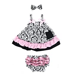 Masione Baby Toddlers Cotton Cute Hairband+ Dress+ Underpants Outfit (S Size for 0-12 Month Infant, Damascus)
