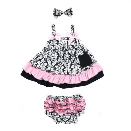 ANDI ROSE Baby Toddlers Cotton Cute Hairband+ Dress+ Underpants Outfit for 0-36 Month Infant