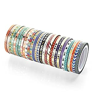 48 Rolls Washi Tape Set,Foil Gold Skinny Decorative Masking Washi Tapes,3MM Wide DIY Masking Tape
