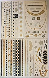 Metallic Temporary Tattoos (4 Different Sheets) - Beautiful Tattoo Flash & Body Art - Black, Silver & Gold Tattoo Jewelry, Rings, Arrows, Bands, Necklaces, Feathers, Jewels and More   Twink Designs
