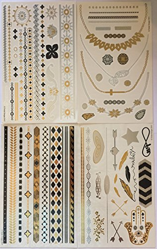 Metallic Temporary Tattoos (4 Different Sheets) - Beautiful Tattoo Flash & Body Art - Black, Silver & Gold Tattoo Jewelry, Rings, Arrows, Bands, Necklaces, Feathers, Jewels and More | Twink Designs