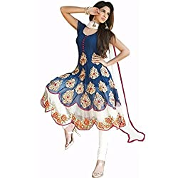 Regalia Ethnic New Collection Blue And White Georgette Embroidered Semistitched Dress Material With Matching Dupatta
