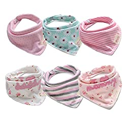 6 Packs 100% Cotton Soft Baby Bibs for Girls with Adjustable Snaps Cute Gift Sets for Newborn (0-12M) (Multicolored)