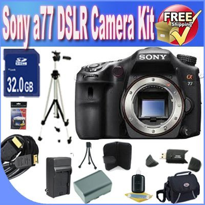 Sony A77 24.3 MP Digital SLR with Translucent Mirror Technology (Body Only) W/32GB SDHC Memory + Extended Life Battery + Ac/Dc Rapid Charger + USB Card Reader + Memory Card Wallet + Deluxe Case w/Strap + Professional Full Size Tripod + Mini HDMI to HDMI Cable + Accessory Saver Bundle!