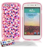 "MUZZANO Coque Souple Ultra-Slim Rose de Qualit� Sup�rieure ORIGINALE au motif exclusif Triangles pour WIKO STAIRWAY + 3 Protections d'Ecran transparents ""UltraClear"" + 1 STYLET et 1 CHIFFON OFFERTS"