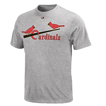 St. Louis Cardinals Stan Musial Throwback Cooperstown Grey T Shirt by Majestic