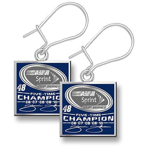 Logoart Jimmie Johnson 2010 Sprint Cup Champion Sterling Sliver Enameled 1/2 Pendant Earrings
