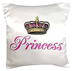 3dRose pc_112873_1 Princess-girly hot pink cursive script text with fancy royal crown potential part of couples gift-Pillow Case, 16 by 16
