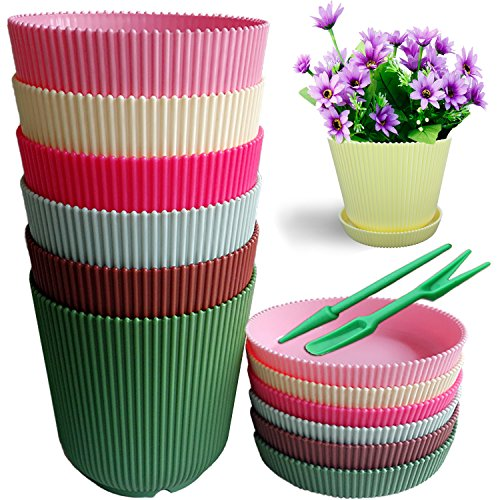 QUIET4.6'' High Quality 6 Candy Colors Fashion Stripes Plastic Flower Pots Planters With Saucers & Free Planting Tools