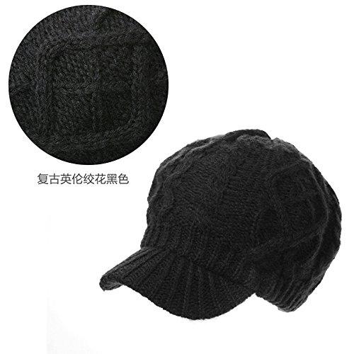 Dngy*Cappelli invernali bambini marea cappello di lana spessi incantevole cappelli di lana per maglieria caldo hat cap , nero