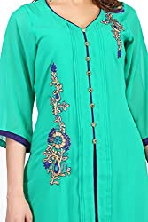 Feather Touch Women's Georgette Kurti (FT3578GR1_Green_38)