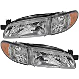 Driver and Passenger Headlights Headlamps Replacement for Pontiac 19149891 19149893