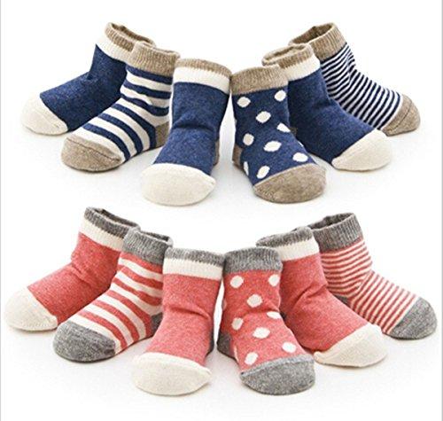 4 Paar Baby-Kind-neugeborenes Kind-Kleinkind -nette Socken aus Baumwolle (0 -6 Monate, Rosa)
