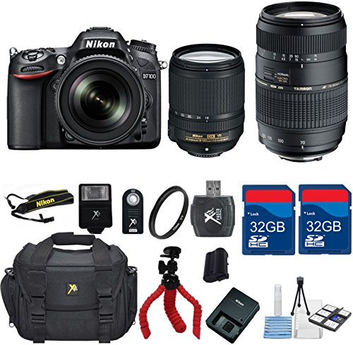 Nikon-D7100-DX-DSLR-18-140mm-VR-Lens-Tamron-70-300-Zoom-Lens-64GB-In-Memory-Flexible-Tripod-UV-Flash-Wireless-Shutter-Remote-6pc-Starter-Kit-International-Version