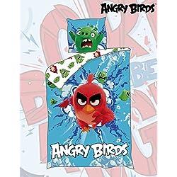 Originale Angry Birds Red Bird Öko Tex cotone biancheria da letto 140 x 200/70 x 50 cm, nuovo