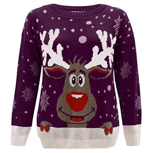 Janisramone Nuovo Da Uomo Da Donna Natale Renne Stampa Maglione a maniche lunghe Unisex Retro Natale Maglione Purple - Reindeer S/M (40-42)