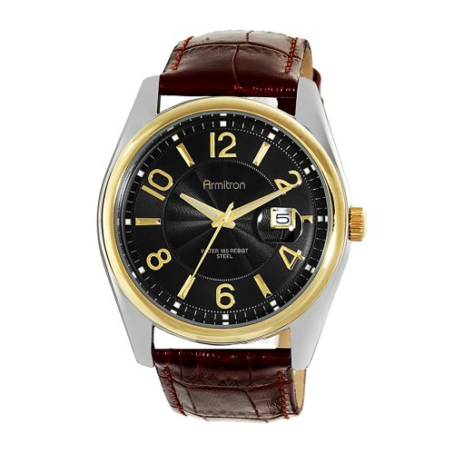 Armitron Men's 204651BKTTBN Two-Tone Black Dial Brown Leather Strap Sport Watch
