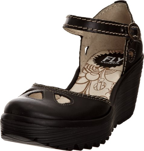 Fly London Women's Yuna Black Rug Wedge Heels P500016066 8 UK