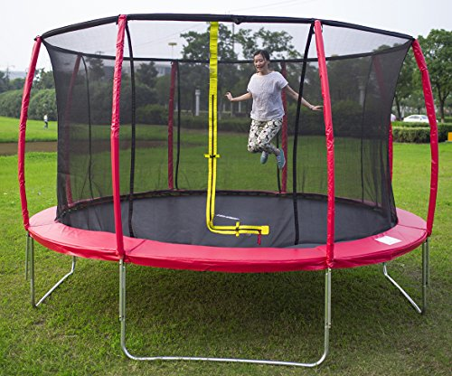 Find Cheap Merax 14FT Red Round Trampoline with Safety Enclosure Set (Red-14FT)