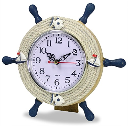 Nautical Clocks - Sailboat Steering Wheel Helm Decoration - Sits with Easel - 9 Inch (Ship Steering Wheel Table compare prices)